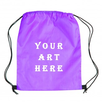 Purple Polyester Drawstring Bag