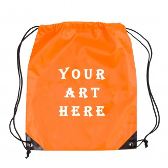 Orange Cinch Backpack Bag with Black Leather Corner