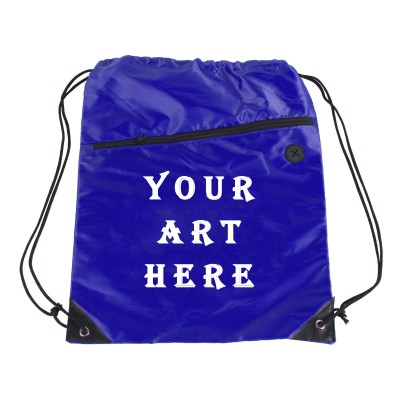 Blue Backpack with Zipper Pocket