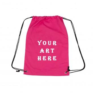 Pink Cavas Drastring Backpack