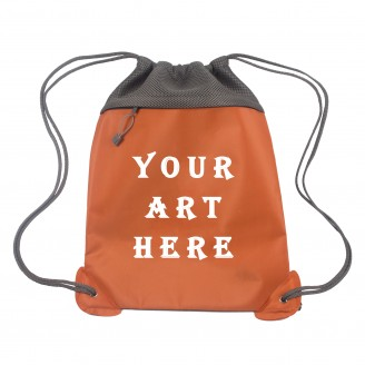 Orange Mesh Drawstring Backpacks
