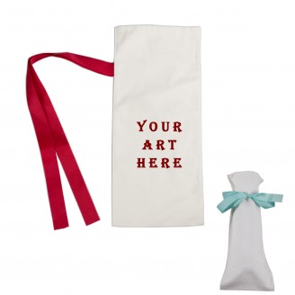 100% Natural Cotton Wine Bag With Red Ribbon