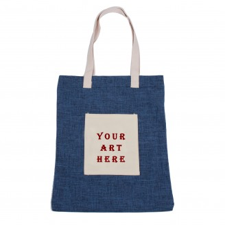 Blue Cotton Tote Bag with Front Pocket