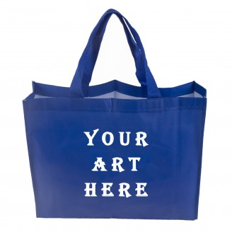 "15.8"" W x 13"" H x 4"" D Nylon Handle Laminated Tote Bag"