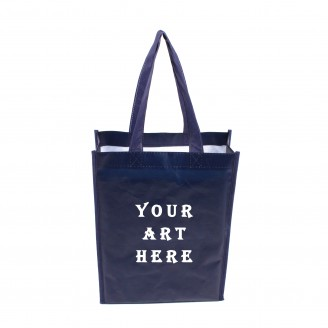 "Navy Small Laminated Tote Bag 9.5"" W x 12.5"" H x 3.5"" D"