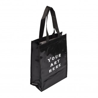 "Black Small Laminated Tote Bag 9"" W x 12""H x 4""D"