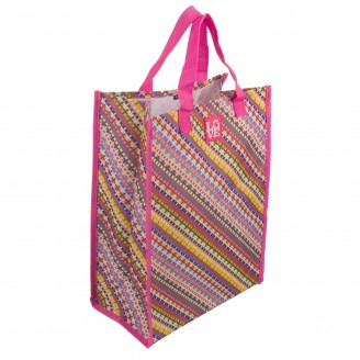 "Colorful Laminated Tote Bag 11.8"" W x 15.5"" H x 7"" D"