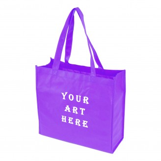 "Purple Laminated Tote Bag 13"" L x 4.5"" W x 13"" H"