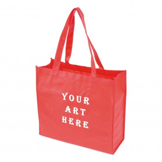 "Red Laminated Tote Bag 13"" L x 4.5"" W x 13"" H"