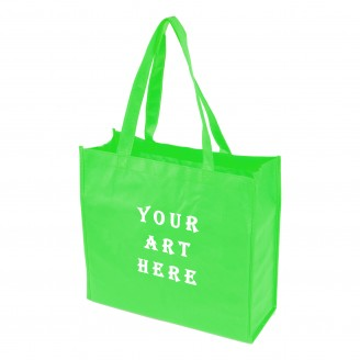 "Green Laminated Tote Bag 13"" L x 4.5"" W x 13"" H"