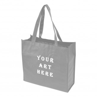 "Grey Laminated Tote Bag 13"" L x 4.5"" W x 13"" H"