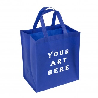 Blue Reinforced Handle Non Woven Tote Bag